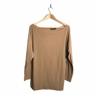 Boohoo   Camel Ribbed Long Sleeve Mini Dress